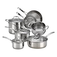 T-fal H800SB Performa X Stainless Steel Dishwasher Safe Oven Safe Cookware Set, 11-Piece, Silver