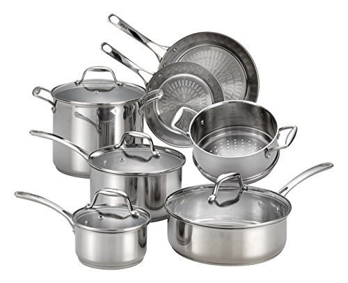 T-fal Pots Pans - T-fal H800SB Performa X Stainless Steel Dishwasher Safe Oven Safe Cookware Set, 11-Piece, Silver