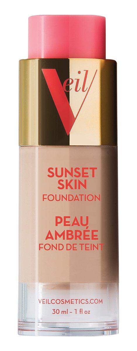Veil Cosmetics Sunset Skin Liquid Foundation (2G) Makeup for All Skin Types, Vegan & Cruelty-Free, Oil Free, Paraben Free