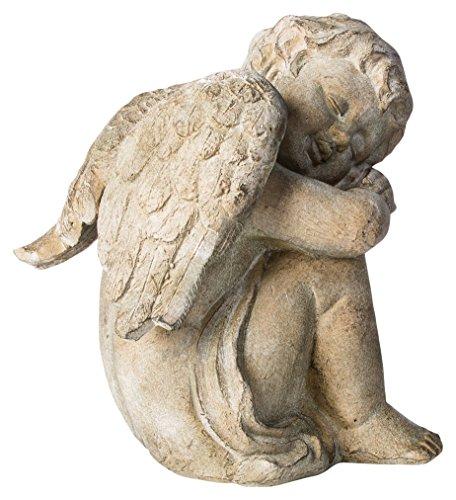 (Alfresco Home Sleepy Cherub Figurine, Weathered Sand)