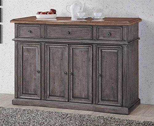 Cheap Chelsea Home Rustic Server in Storm Grey and Maple