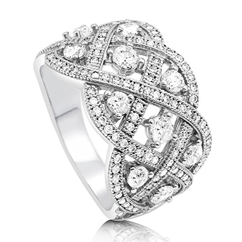 (BERRICLE Rhodium Plated Sterling Silver Cubic Zirconia CZ Woven Art Deco Cocktail Ring Size 9)