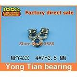 Ochoos 50pcs Boutique Flange Ball Bearings MF74ZZ / LF740ZZ Size 4 * 7 * 8.2 * 2.5 * 0.6 mm