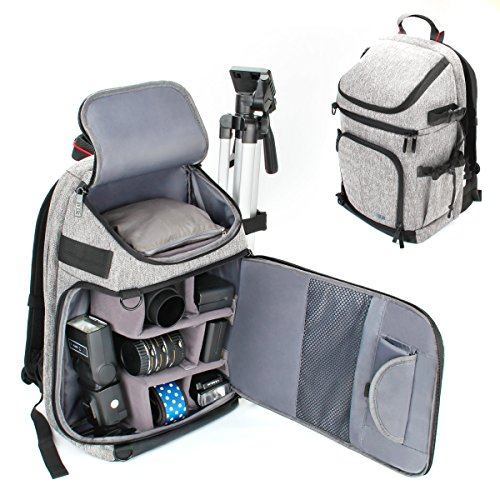 USA GEAR DSLR/SLR Camera Backpack with Padded Dividers, Tripod Holder, Laptop Compartment, Rain Cover and Accessory Storage Compatible with Cameras from Nikon, Canon, Sony, Pentax and More