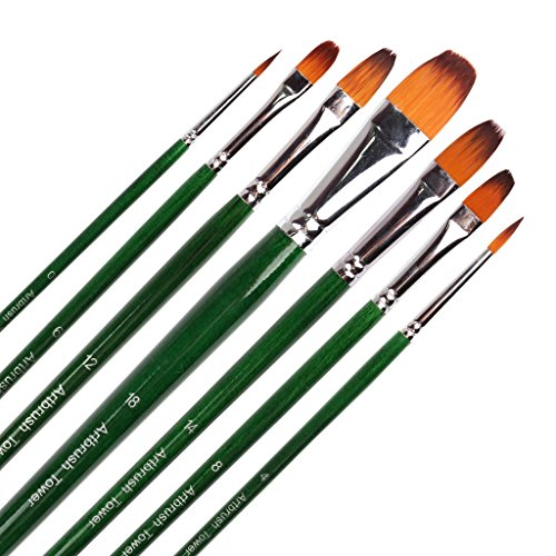 Artist Paint Brush-7 Piece ,Top Quality Golden Nylon Hair, Art Brush Set for Oil ,Acrylic and Watercolor Painting,Long Handle (Top Quality Paint)