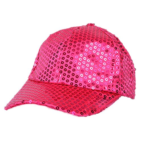 (Elee Women Men Shining Sequin Baseball Hat Sequined Glitter Dance Party Cap Clubwear (Rose Red))