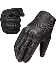 ILM Goatskin Leather Motorcycle Motorbike Powersports Racing Gloves Touchscreen For Men and Women Black