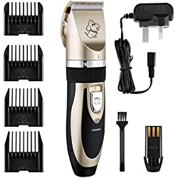 Dog grooming, Pet grooming clippers, Petcaree Low Noise Rechargeable Cordless Pet Dogs and Cats Electric Clippers Grooming Trimming Kit Set (Gold)
