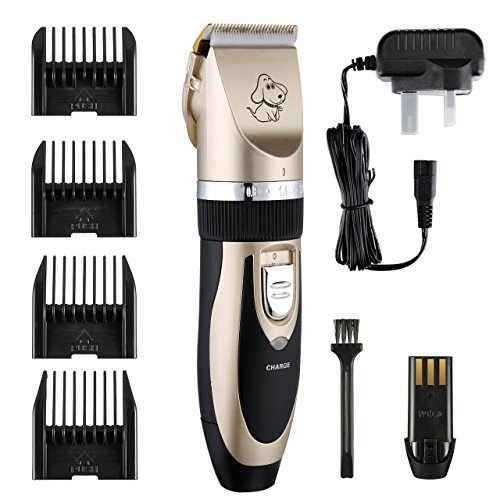 Power Clean Electric Shaver (Dog grooming, Pet grooming clippers, Petcaree Low Noise Rechargeable Cordless Pet Dogs and Cats Electric Clippers Grooming Trimming Kit Set (Gold+Black))