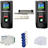 Track both IN and OUT Biomertric Fingerprint Access Control System 600lbs Magnetic Lock 110-240V Power Supply RFID Keyfods/Cards