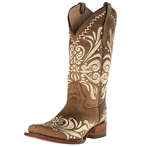Tan Ladies Boot - Circle G Womens Ladies Embroided Square Toe Boots 10 M Tan