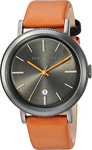 Ted Baker Men's 'CONNOR' Quartz Stainless Steel and Leather Dress Watch, Color:Brown (Model: 10031504)