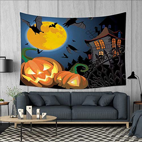 Anniutwo Halloween Wall Hanging Tapestry Gothic Halloween Haunted House Party Theme Design Trick or Treat for Kids Print Customed Widened Tapestry W90 x L60 (inch) Multicolor