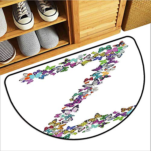 Door mat Customization Letter Z Multicolored Animal Pattern Cool Font Nature Exotic Bugs Capital Letter Z Design Easy to Clean W36 xL24 Multicolor