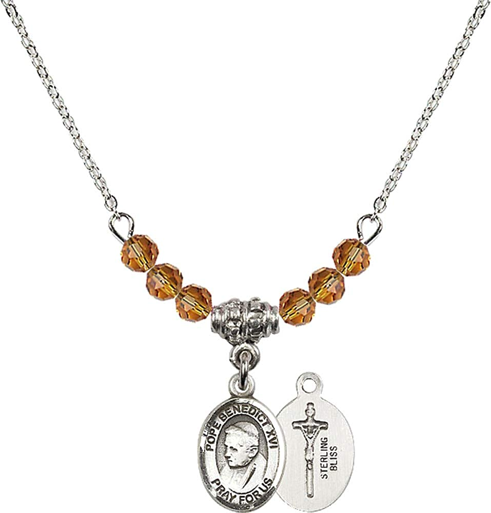 Bonyak Jewelry 18 Inch Rhodium Plated Necklace w// 4mm Yellow November Birth Month Stone Beads and Pope Emeritus Benedict XVI
