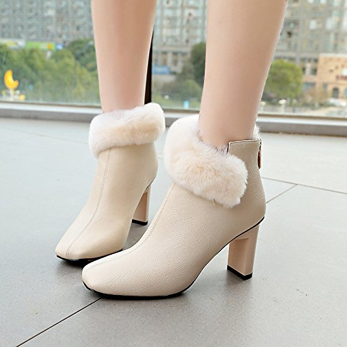 ZHZNVX Bootie Boots Toe HSXZ Chunky Feather Casual Booties Women's Boots for Square Shoes Fleece Spring Ankle Leatherette Winter Black Heel Boots Fashion rr68zqpn