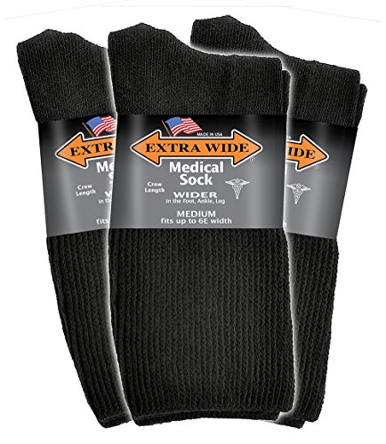 Extra Wide Men's Black Medical (Diabetic) Mid Calf Crew Sock, Shoe Size 8 - 11 Up to 6E Wide 3PK, Antimicrobial, Made in USA!
