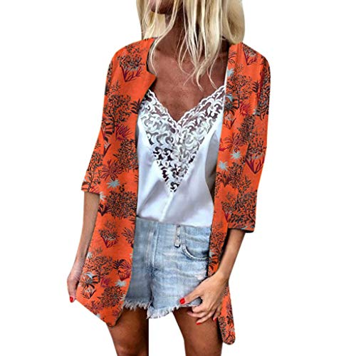 3/4 Sleeve Loose Cardigan, QIQIU Womens 2019 Chiffon Sheer Boho Tree Leaf Printed Sunscreen Beach Swimsuit Cover-up - Leaf Copper Rosette