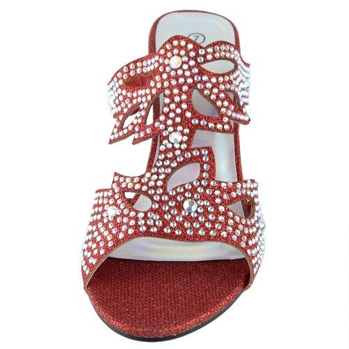 Womens Dress Sandaler Rhinestone Glitter Utklipp Kilklack Sandaler Röd