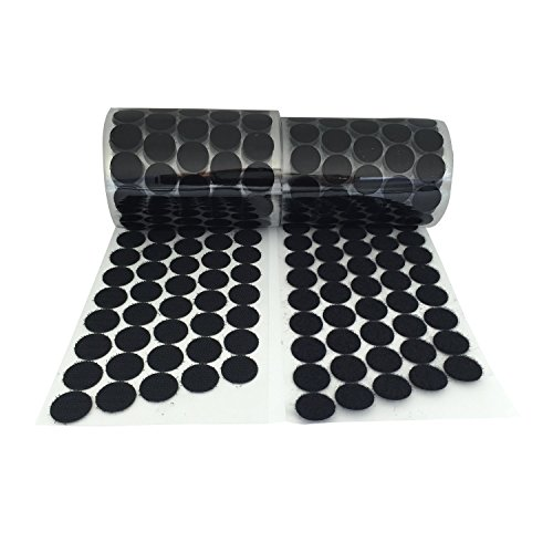 Vkey (500 Pair Sets 20mm Diameter Sticky Back Coins Hook & Loop Self Adhesive Dots Tapes (Black/3/4/500pairs)