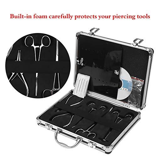 Professional Body Piercing Tattoo Tool Kit For Navel Ear Tongue Tattoo Gun  Equipment Piercing Jewelry,Pliers, Needles,Case Set