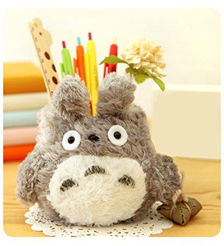 UQueen South Korean Creative Stationery Lovely Cute Cartoon Totoro High-capacity Brush Pot Plush Desktop Pen Pencil Holder Barrel Organizer