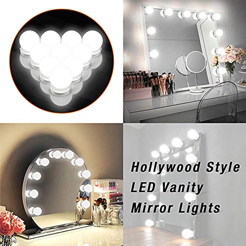 Vanity Lights, Hollywood Style LED Vanity Mirror Lights Kit with Dimmable Light 10 Bulbs for Vanity Mirror Makeup Vanity Table Set in Dressing Room (Mirror Not Include)