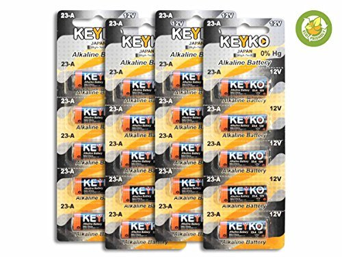 A23 Alkaline 12V Battery 23A . 20-Pcs Pack Genuine KEYKO JAPAN High Tech8482; for Remote controls , alarm , keyless entry , electronics and so more