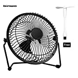 USB Fan, Binwo Quiet Mini Table Desk Personal Fan and Portable Metal Cooling Fan for Office Home School and Camping, High Compatibility, Power Saving with 360 Degree Rotation, 6 inch ( Black )