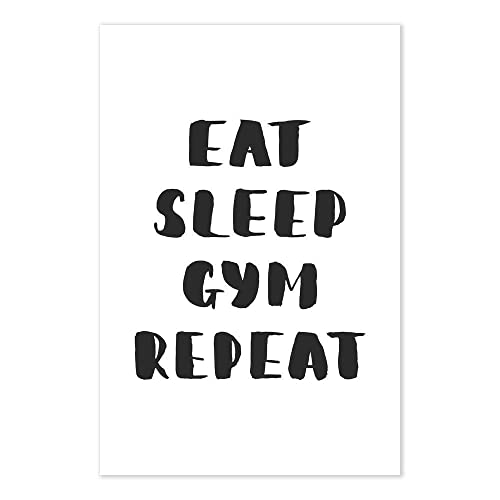 Amazon.com: Eat Sleep Gym Repeat Funny Workout Quote Art ...
