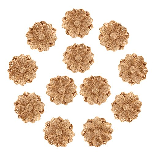 CCINEE Natural Burlap Flowers Handmade Burlap Rose for Wedding Decoration and Floral Crafts Making, Pack of 12 -