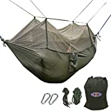 B1ST Dual Camping Hammock with Mosquito Bug Net High Strength Nylon Ultralight Collapsible Outdoor Parachute Army Green Hammock for Hiking Backpacking with Tree Straps and Carabiners