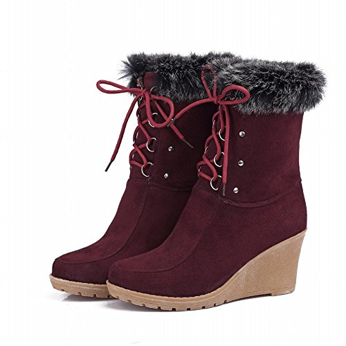 Single Wine Boots Red Concise Short Shoes Color Bandage Women's Carol Platform Wedges qStxvHfWw