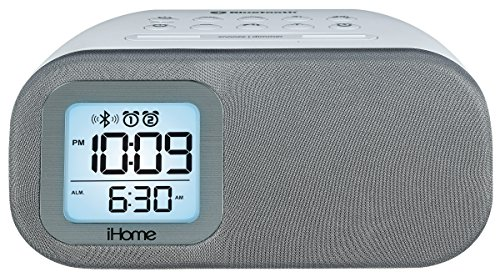 - iHome iBT210WS Bluetooth Dual Alarm FM Clock Radio with Speakerphone and USB Charging - White