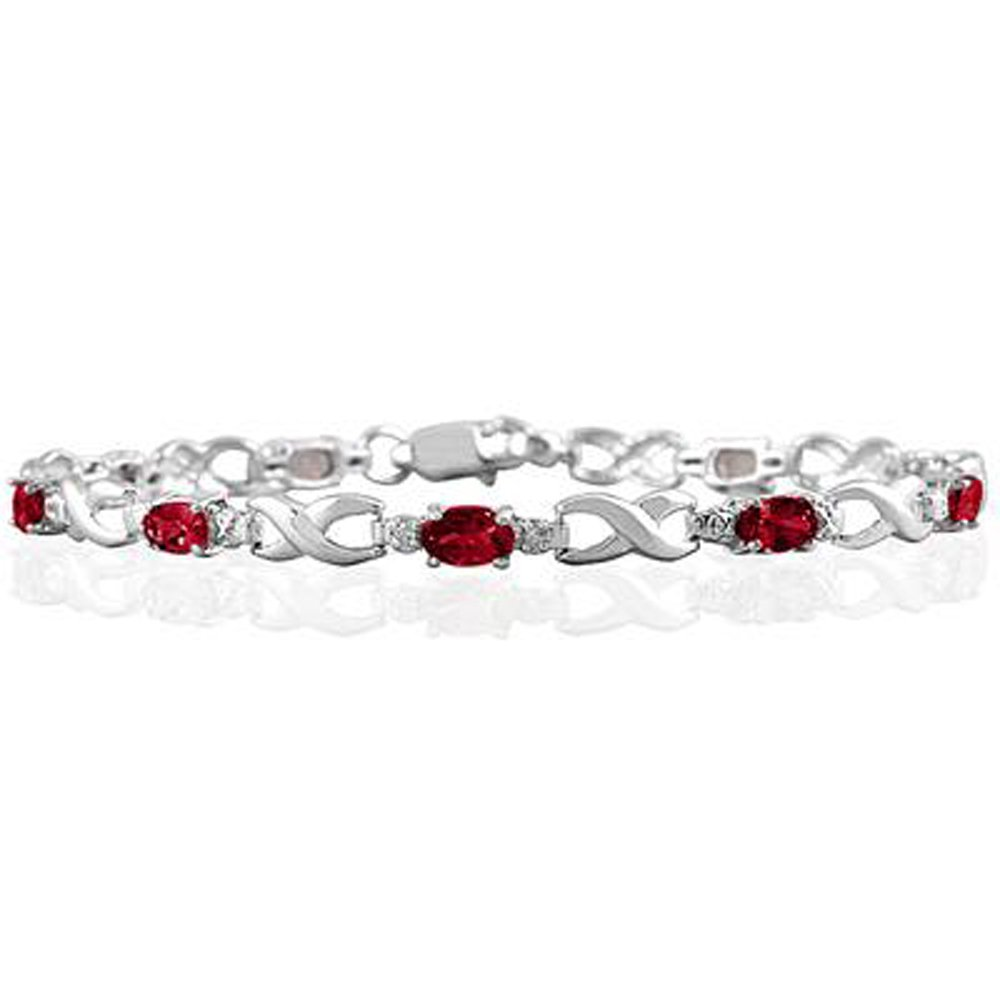 Triostar Valentines Day Collection 925 Sterling Silver Simulated Diamond /& Pink Ruby Studded Link Bracelet AKB172