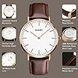 Mens Wrist Watch,Minimalist Brown Leather Band Analog Quartz Watch,Classic Casual Dress Watches For Men