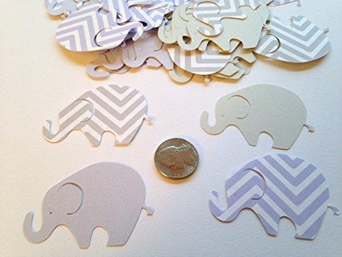 50 Elephant Baby Shower, Large Elephant, 2 Inch Elephant Purple Gray Chevron Elephant, Elephant Cutout, Elephant Cupcake Topper, Elephant Die Cut, Elephant Decor, It's a Girl ()
