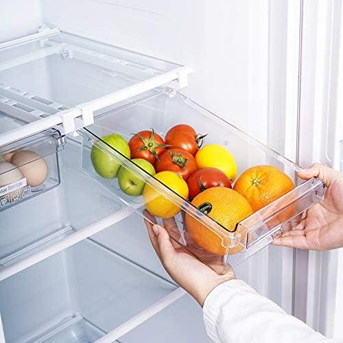 4pcs katiway Nouveau Frigo Tiroir de Rangement Transparent Organisateur de r/éfrig/érateur Durable Panier sous Le Plateau pour /œufs Fruits l/égumes Ajouter de lespace suppl/émentaire dans Le frigo