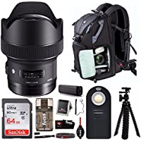 Sigma 14mm f/1.8 DG HSM Art Lens for Nikon F (450955) Deluxe Travel Kit