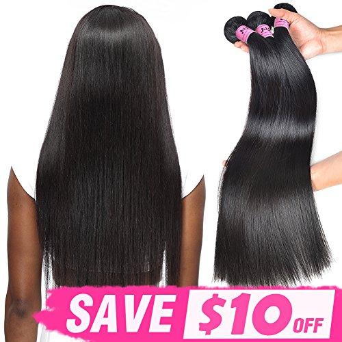 JVH Virgin Brazilian Straight Human Hair 1 Bundle Unprocessed Brazilian Virgin Hair Weave Bundles Natural Black (10)