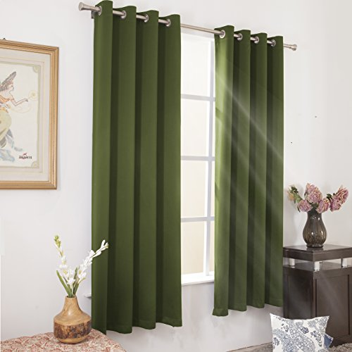 Wontex Blackout Curtains Thermal Insulated with Grommet for Bedroom, 52 x 63 inch, Olive, 2 Curtain Panels (Olive Kids Curtains)