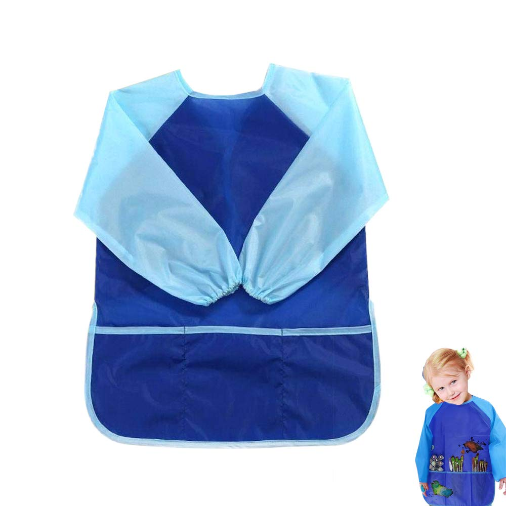 Kids Art Aprons Children Art Smock with Waterproof Painting Apron Long Sleeve 3 Roomy Pockets for Age 3-8 Years (Blue) YMero