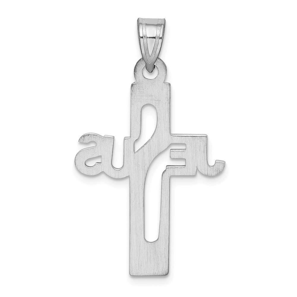 925 Sterling Silver Rhodium-plated Jesus Religious Cross Medium Charm Pendant