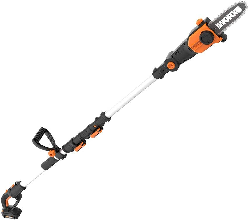 WORX 2-in-1 Attachment Capable WG349 20V Pole Saw, Black and Orange