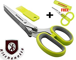 Kitchen Gadget Herb Scissors, Shears ✮ Professional Heavy Duty Tool ✮ 5 Blade Stainless Steel ✮ Best Gadget / Tool for Kitchen, Craft & Garden Shredding, Soft Grip Plus Second Small Scissors FREE, Snipping Tool, Snip Fresh Herbs Quickly and Neatly. Ebook FREE