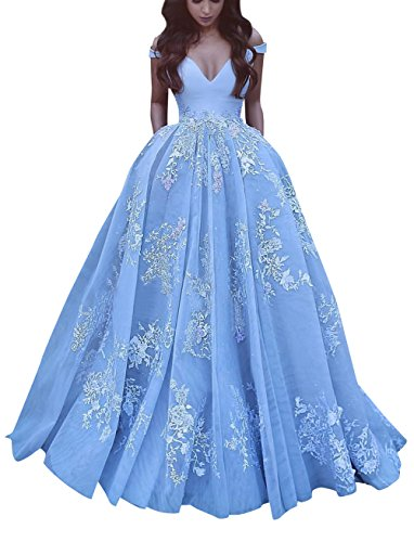Off Shoulder Prom Gown Long Empire Waist Organza Appliques Formal Evening Dress Sky Blue Size 8 (Poofy Dresses)