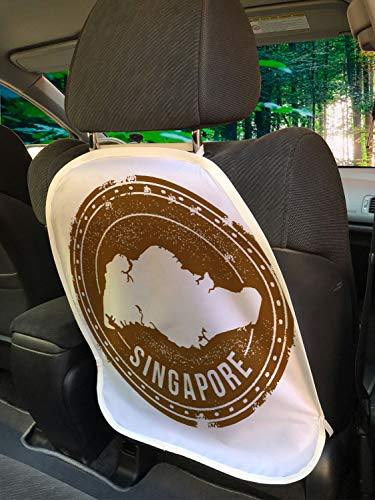 """Ambesonne Singapore Car Seat Protector Set of 2, Grunge Style Emblem Design of Mapping and Calligraphy on a Round Formation, Universal Kick Mat for Dirt Mud & Scratches, 18"""" x 24"""", Umber and White"""