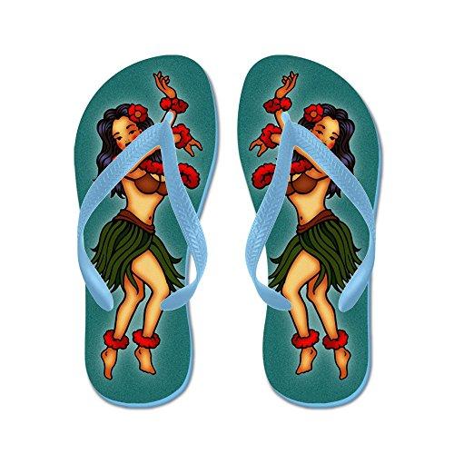 Cafepress Retro Hula Tatueringskonsten - Flip Flops, Roliga Rem Sandaler, Strand Sandaler Caribbean Blue