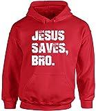 Awkward Styles Unisex Jesus Saves Bro Hoodie Hooded Sweatshirt White Love Faith Religious Gift Red S
