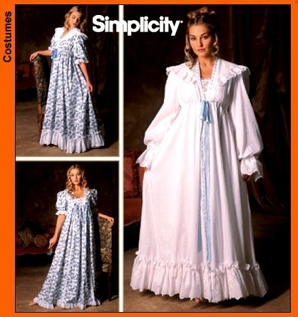SIMPLICITY PATTERN 5188 VINTAGE CLOSET TURN OF THE CENTURY NIGHTGOWN & ROBE sz BB: L, XL - Vintage Nightgown Patterns